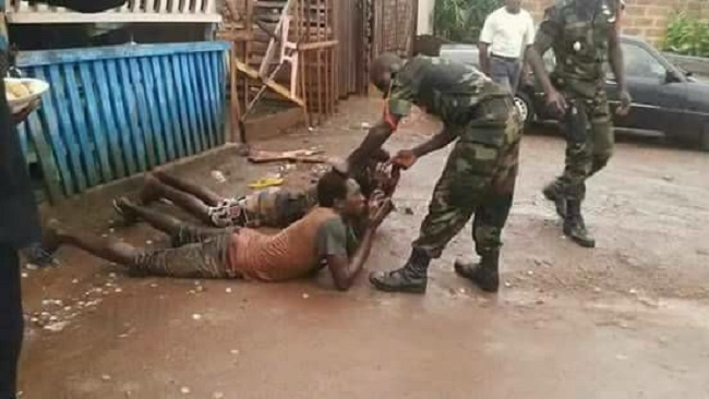 Cameroun military forces maltreating Southern Cameroonians
