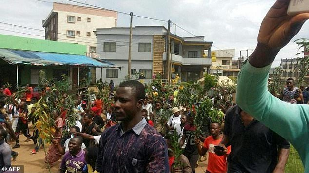 English speaking Cameroonians during a peaeful protest